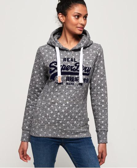Superdry Vintage Logo Star Hoodie mit durchgehendem Stern-Print | Bekleidung > Sweatshirts & -jacken > Hoodies | Grau | Material: baumwolle 53%|polyester 47%| | Superdry