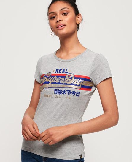 Superdry Superdry Vintage Logo T-shirt med folieprint og stribedesign