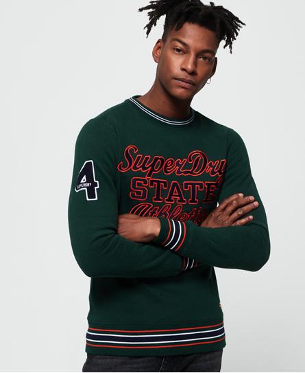 Superdry Superdry Academy sweatshirt med applikation og stribede kanter
