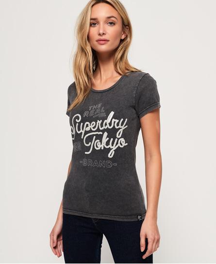 Superdry Superdry Tokyo Brand T-shirt med pailletter