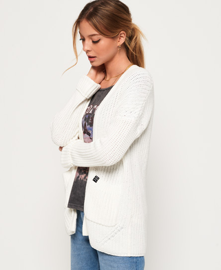 Superdry Langer Katie Cardigan | Bekleidung > Pullover | Creme | Material: baumwolle 100%| | Superdry