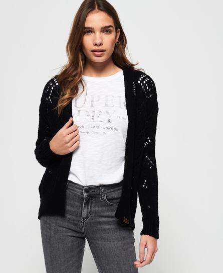 Superdry Amira Pointelle-Cardigan mit Struktur | Bekleidung > Pullover > Sonstige Pullover | Schwarz | Material: baumwolle 80%|polyamid (nylon) 20%| | Superdry