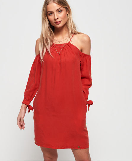 Superdry Eden Cold Shoulder jurk rood