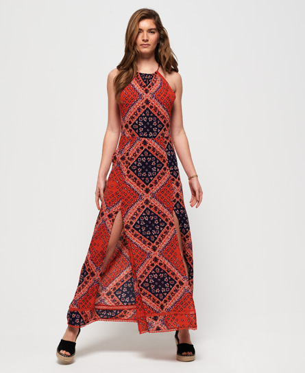 Superdry Boho maxi jurk rood