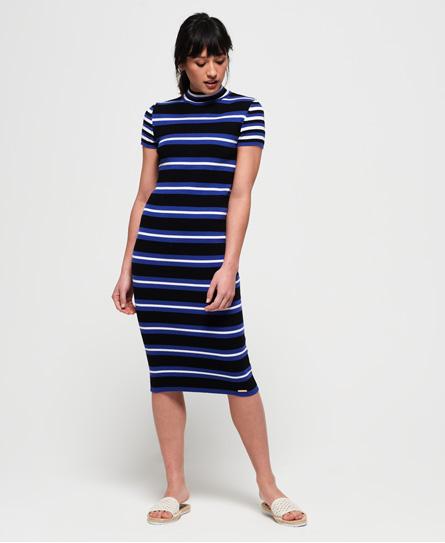 Superdry Sportieve gestreepte gebreide jurk met ribbels blauw