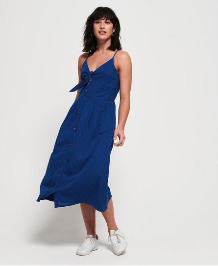 Superdry Jayde Tie Front Midi jurk blauw
