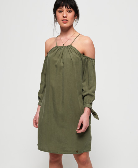 Superdry Eden Cold Shoulder jurk groen