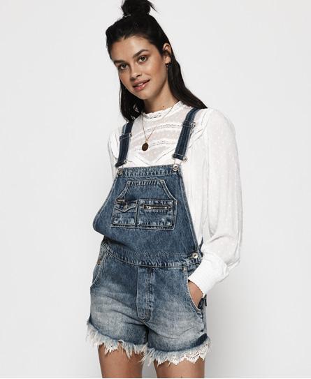 Superdry Denim-Latzshorts mit Spitze | Bekleidung > Jeans > Shorts & Bermudas | Marineblau | Material: baumwolle 100%| | Superdry