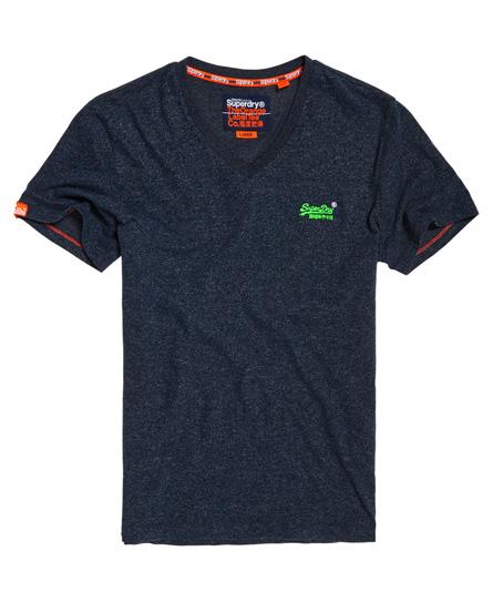 Superdry Vintage T-Shirt mit Stickerei und V-Ausschnitt aus der Orange La