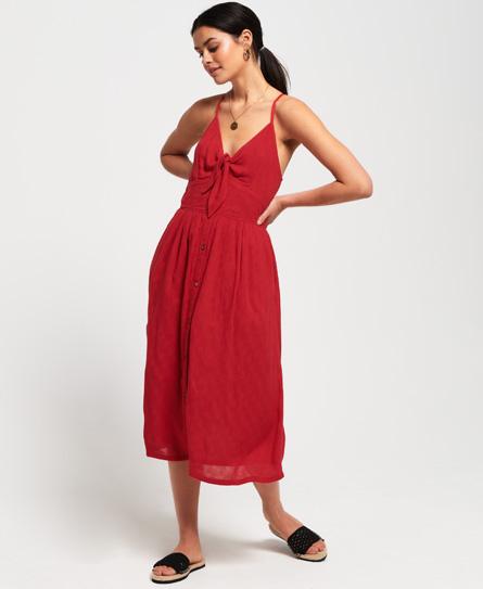 Superdry Jayde Tie Front Midi jurk rood