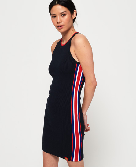 Superdry Sporty Taped Ribbed jurk navy