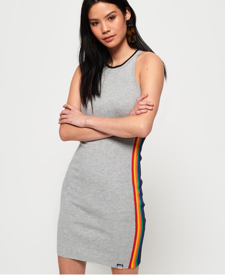 Superdry Sporty Taped Ribbed jurk donkergrijs