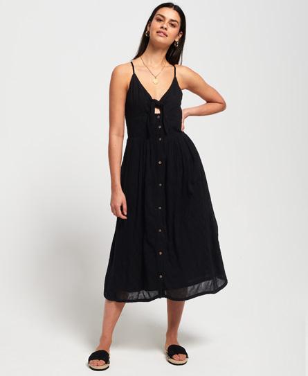 Superdry Jayde Tie Front Midi jurk zwart