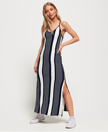 Superdry Azur Stripe maxi-jurk navy