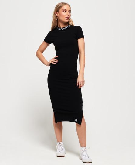 Superdry Jacquard Neckline halflange bodycon-jurk zwart