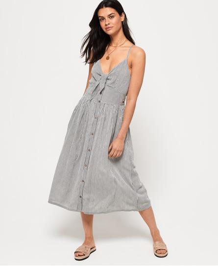 Superdry Jayde Tie Front Midi jurk wit