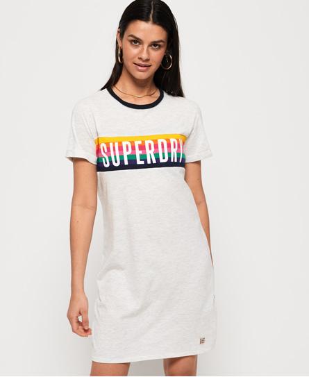 Superdry Superdry Sanita T-shirtkjole med kontrastfarvede kanter