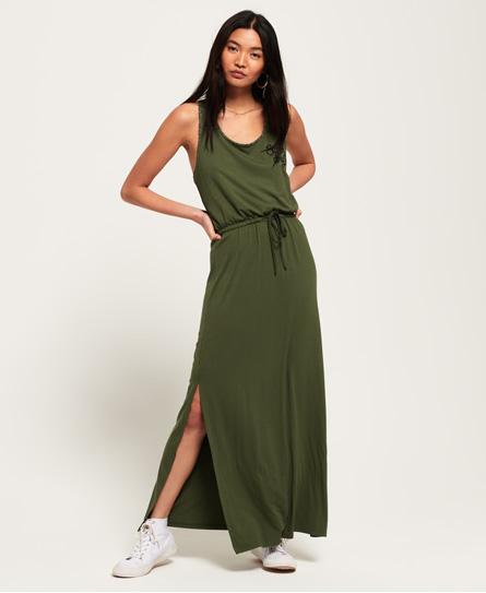 Superdry Aztec geborduurde maxi-jurk groen