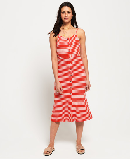 Superdry Charlotte Button Down midi-jurk rood