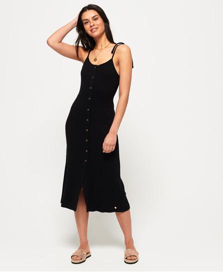 Superdry Charlotte Button Down midi-jurk zwart