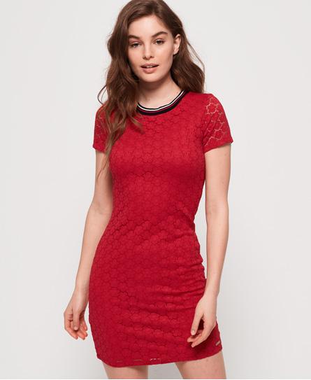 Superdry Eden mini-jurk met bloemetjeskant rood