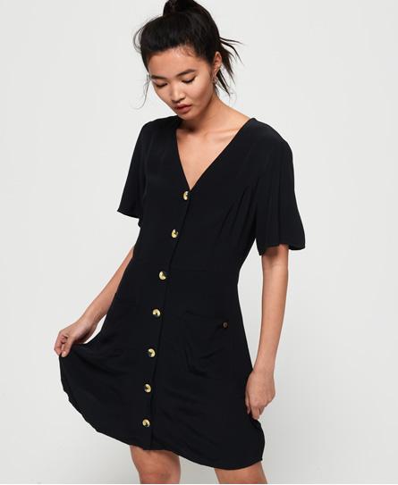 Superdry Darcy Button Through jurk zwart