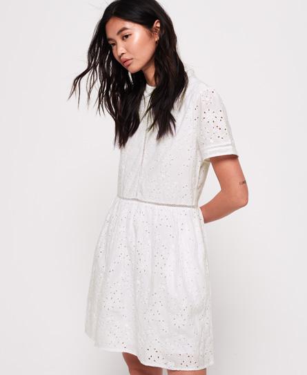 Superdry Shelly Schiffli jurk wit