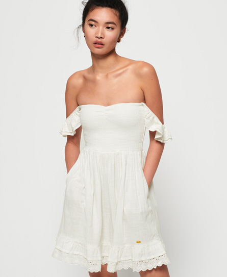 Superdry Adrianna Smocked jurk wit