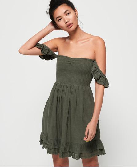 Superdry Adrianna Smocked jurk groen