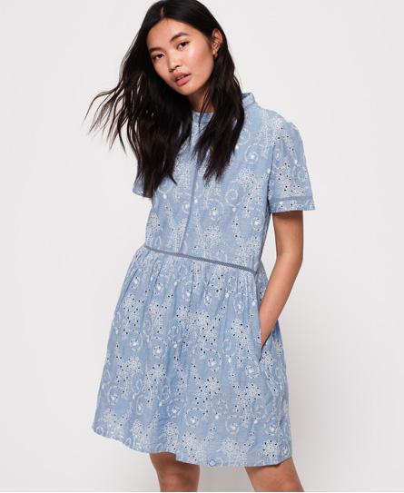 Superdry Shelly Schiffli jurk blauw