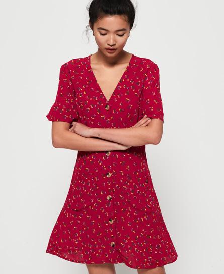 Superdry Darcy Button Through jurk rood