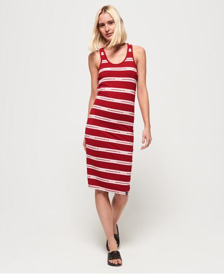 Superdry Mila gestreepte midi-jurk rood