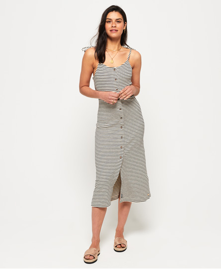 Superdry Charlotte Button Down midi-jurk cream