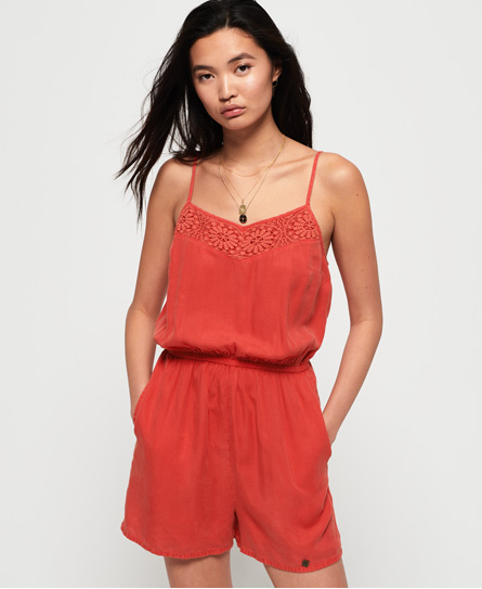 Superdry Tess playsuit rood