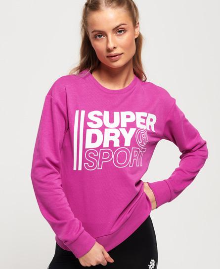 Superdry Core Sport Sweatshirt mit Rundhalsausschnitt | Sportbekleidung > Sportshirts > Funktionsshirts | Pink | Rumpf: baumwolle 54%|polyester 46%| rippstrick: baumwolle 95%|elastan 5%| | Superdry