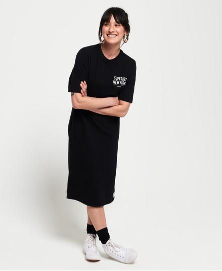 Superdry Kellow Graphic midi-jurk zwart
