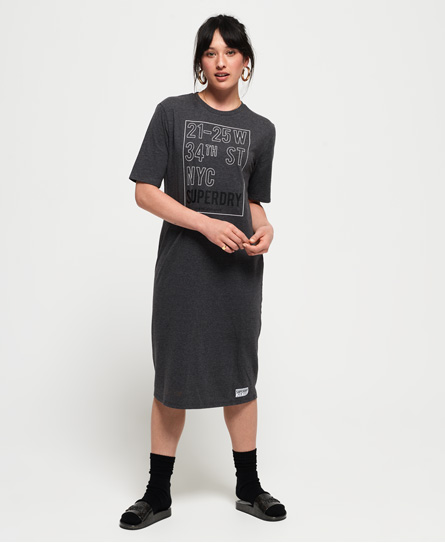 Superdry Kellow Graphic midi-jurk donkergrijs