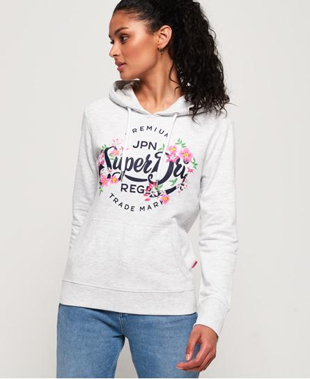 Superdry Superdry Let Premium hættetrøje med tekst og blomsterdesign