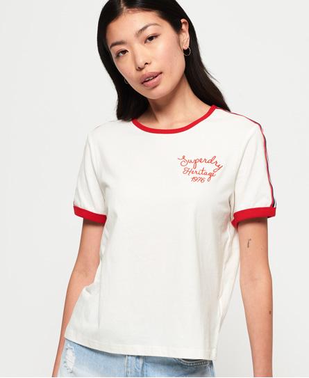 Superdry Superdry Firkantet Heritage T-shirt med kontrastfarvede kanter og broderi
