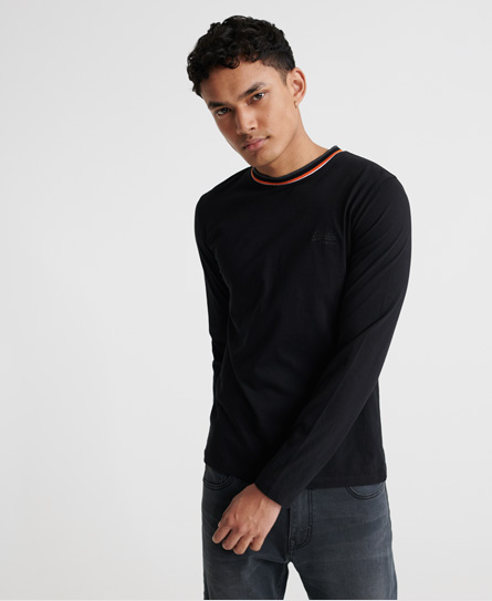 Superdry Organic Cotton Athletic Ringer Long Sleeve Top In Black