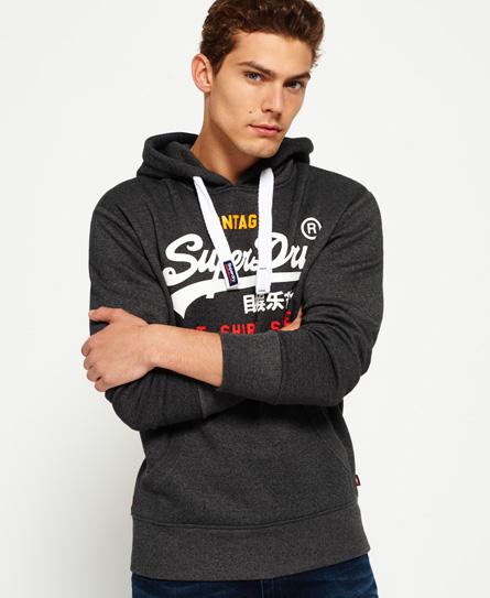 anthrazit-schwarz gesprenkelt Superdry Dreifarbiges Sweat Shirt Store Hoodie