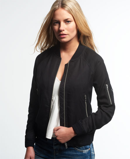 Womens - Lillie Bomber Jacket in Black | Superdry