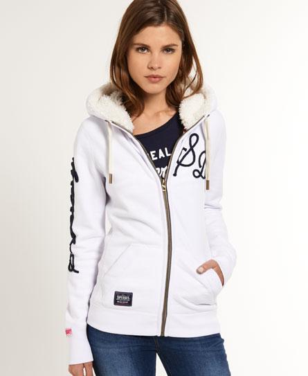 womens deckhand zip hoodie in winter white superdry. Black Bedroom Furniture Sets. Home Design Ideas