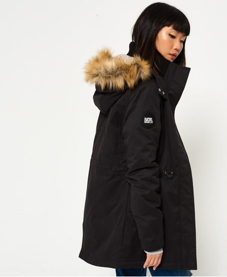 Womens - New Model Microfibre Parka Jacket in Black | Superdry