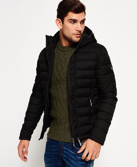 Fuji Double Zip Hooded Tweed Jacket