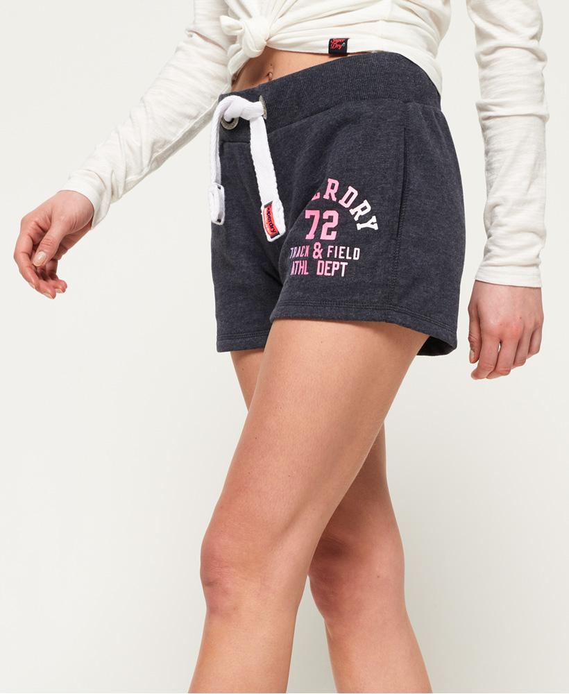 New Womens Superdry Track /& Field Lite Shorts Boardwalk Blue Marl