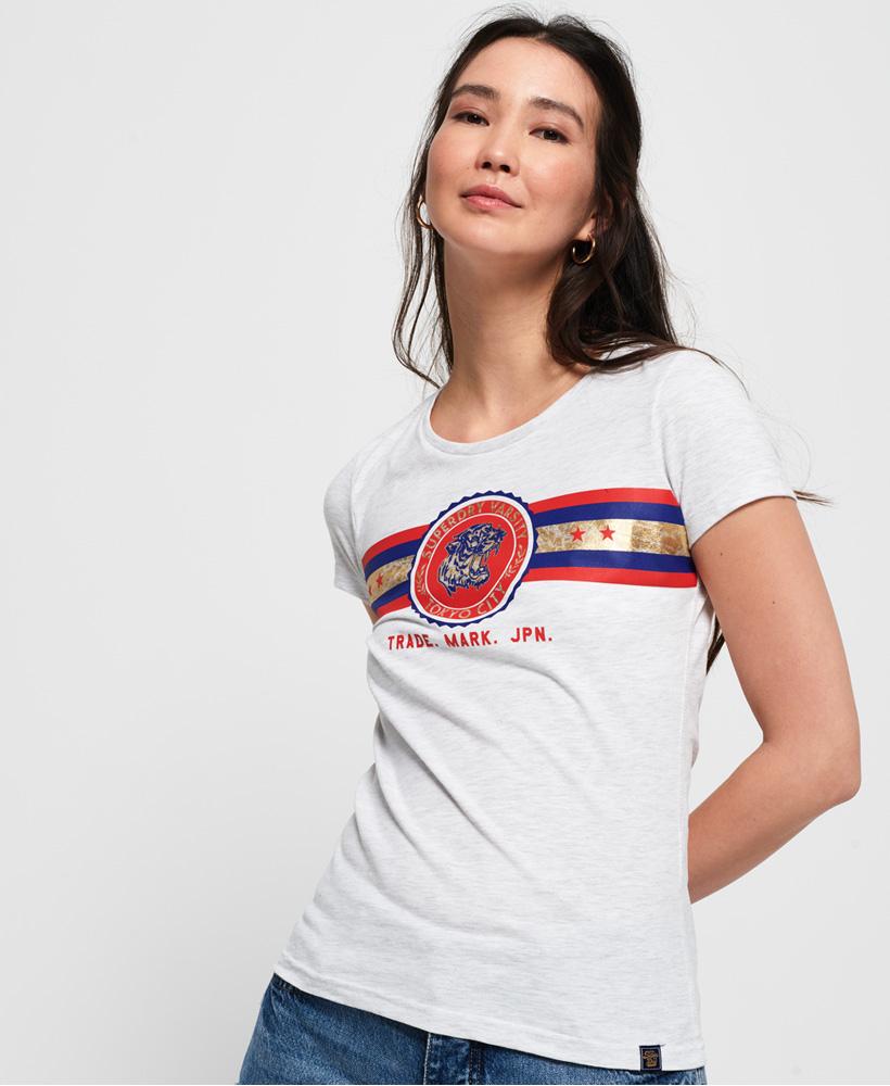 New Womens Superdry Tiger Crest Foil Stripe T-Shirt Black
