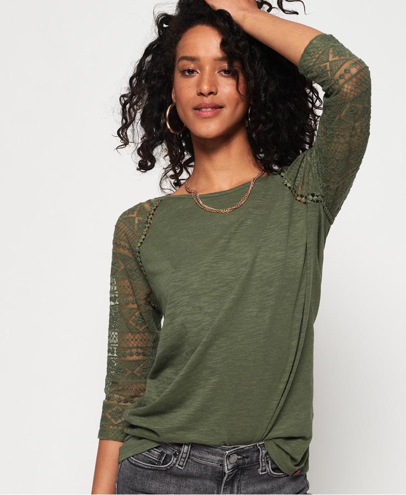 Neues Damen Superdry Embroidered L//S Ragl Soft Khaki